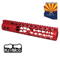 "10"" AIR LITE KEYMOD FREE FLOATING HANDGUARD WITH MONOLITHIC TOP RAIL (RED)"