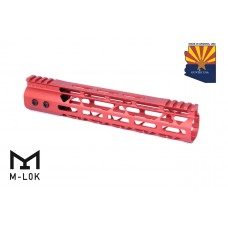 10″ Mod Lite Skeletonized Series M-LOK Free Floating Handguard With Monolithic Top Rail (Anodized Red)