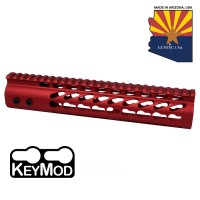"10"" ULTRA LIGHTWEIGHT THIN KEY MOD FREE FLOATING HANDGUARD WITH MONOLITHIC TOP RAIL ( RED)"