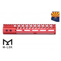 "10"" ULTRA LIGHTWEIGHT THIN M-LOK SYSTEM FREE FLOATING HANDGUARD WITH MONOLITHIC TOP RAIL (RED)"