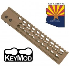 "10"" ULTRA SLIMLINE OCTAGONAL 5 SIDED KEY MOD FREE FLOATING HANDGUARD WITH MONOLITHIC TOP RAIL (FLAT DARK EARTH)"