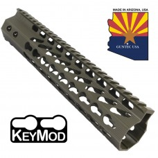"10"" ULTRA SLIMLINE OCTAGONAL 5 SIDED KEY MOD FREE FLOATING HANDGUARD WITH MONOLITHIC TOP RAIL(O.D. GREEN)"
