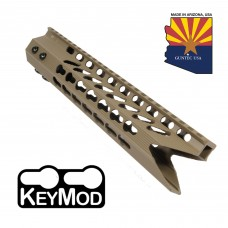 "10"" ULTRA SLIMLINE OCTAGONAL 5 SIDED KEY MOD FREE FLOATING HANDGUARD WITH ""SHARK MOUTH"" CUT (FLAT DARK EARTH)"