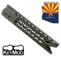 "10"" ULTRA SLIMLINE OCTAGONAL 5 SIDED KEY MOD FREE FLOATING HANDGUARD WITH ""SHARK MOUTH"" CUT (OD GREEN)"