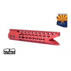 "10"" ULTRA SLIMLINE OCTAGONAL 5 SIDED KEY MOD FREE FLOATING HANDGUARD WITH ""SHARK MOUTH"" CUT (RED)"