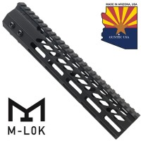 "10"" ULTRA SLIMLINE OCTAGONAL 5 SIDED M-LOK FREE FLOATING HANDGUARD WITH MONOLITHIC TOP RAIL"