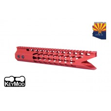 "11.5"" ULTRA SLIMLINE OCTAGONAL 5 SIDED KEY MOD FREE FLOATING HANDGUARD WITH ""SHARK MOUTH"" CUT (RED)"