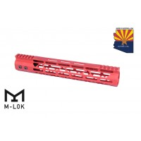 "12"" MOD LITE SKELETONIZED SERIES M-LOK FREE FLOATING HANDGUARD WITH MONOLITHIC TOP RAIL (RED)"