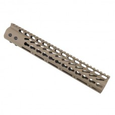 "12"" ULTRA LIGHTWEIGHT THIN KEY MOD FREE FLOATING HANDGUARD WITH MONOLITHIC TOP RAIL (FLAT DARK EARTH)"