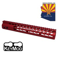 "12"" ULTRA LIGHTWEIGHT THIN KEY MOD FREE FLOATING HANDGUARD WITH MONOLITHIC TOP RAIL(RED)"