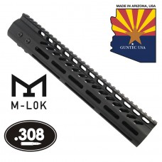 12″ Ultra Lightweight Thin M-LOK System Free Floating Handguard With Monolithic Top Rail (.308 Cal)