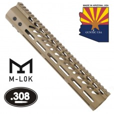 12″ Ultra Lightweight Thin M-LOK System Free Floating Handguard With Monolithic Top Rail (.308 Cal) (Flat Dark Earth)
