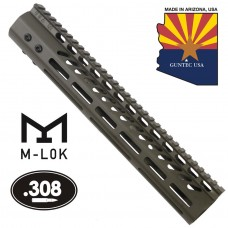 "12"" ULTRA LIGHTWEIGHT THIN M-LOK SYSTEM FREE FLOATING HANDGUARD WITH MONOLITHIC TOP RAIL (.308 CAL)(O.D. GREEN)"