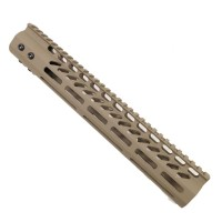 "12"" ULTRA LIGHTWEIGHT THIN M-LOK SYSTEM FREE FLOATING HANDGUARD WITH MONOLITHIC TOP RAIL (FLAT DARK EARTH)"