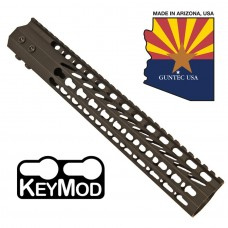 "12"" ULTRA SLIMLINE OCTAGONAL 5 SIDED KEY MOD FREE FLOATING HANDGUARD WITH MONOLITHIC TOP RAIL"