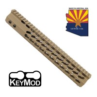 "12"" ULTRA SLIMLINE OCTAGONAL 5 SIDED KEY MOD FREE FLOATING HANDGUARD WITH MONOLITHIC TOP RAIL (FLAT DARK EARTH)"