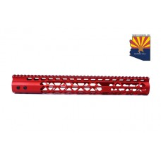 """15"""" AIR LITE KEYMOD FREE FLOATING HANDGUARD WITH MONOLITHIC TOP RAIL (RED)"""