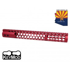 """15"""" AIR LITE SERIES """"HONEYCOMB"""" KEYMOD FREE FLOATING HANDGUARD WITH MONOLITHIC TOP RAIL(RED)"""