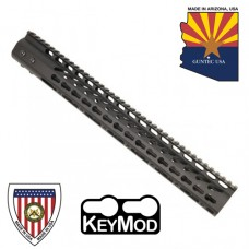 """15"""" ULTRA LIGHTWEIGHT THIN KEY MOD FREE FLOATING HANDGUARD WITH MONOLITHIC TOP RAIL"""