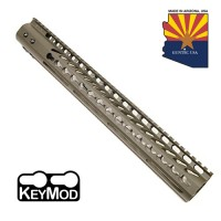 "15"" ULTRA LIGHTWEIGHT THIN KEY MOD FREE FLOATING HANDGUARD WITH MONOLITHIC TOP RAIL (OD GREEN)"