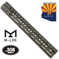 "15"" ULTRA LIGHTWEIGHT THIN M-LOK SYSTEM FREE FLOATING HANDGUARD WITH MONOLITHIC TOP RAIL (.308 CAL)(O.D. GREEN)"