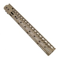 "15"" ULTRA LIGHTWEIGHT THIN M-LOK SYSTEM FREE FLOATING HANDGUARD WITH MONOLITHIC TOP RAIL (FLAT DARK EARTH)"