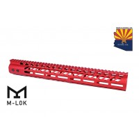 "15"" ULTRA LIGHTWEIGHT THIN M-LOK SYSTEM FREE FLOATING HANDGUARD WITH MONOLITHIC TOP RAIL (RED)"