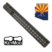 "15"" ULTRA SLIMLINE OCTAGONAL 5 SIDED KEY MOD FREE FLOATING HANDGUARD WITH MONOLITHIC TOP RAIL (OD GREEN)"