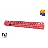"15"" ULTRA SLIMLINE OCTAGONAL 5 SIDED M-LOK FREE FLOATING HANDGUARD WITH MONOLITHIC TOP RAIL (RED)"
