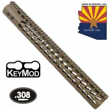 "16.5"" ULTRA LIGHTWEIGHT THIN KEY MOD FREE FLOATING HANDGUARD WITH MONOLITHIC TOP RAIL (.308 CAL)(FLAT DARK EARTH)"