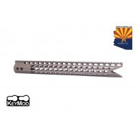 "16.5"" ULTRA SLIMLINE OCTAGONAL 5 SIDED KEY MOD FREE FLOATING HANDGUARD WITH ""SHARK MOUTH "" CUT (FLAT DARK EARTH)"