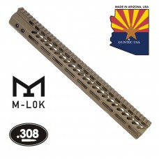 "16.5"" ULTRA LIGHTWEIGHT THIN M-LOK FREE FLOATING HANDGUARD WITH MONOLITHIC TOP RAIL (.308 CAL)(FLAT DARK EARTH)"