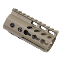 "4"" ULTRA LIGHTWEIGHT THIN KEY MOD FREE FLOATING HANDGUARD WITH MONOLITHIC TOP RAIL (FLAT DARK EARTH)"