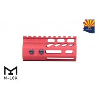 "4"" ULTRA LIGHTWEIGHT THIN M-LOK FREE FLOATING HANDGUARD WITH MONOLITHIC TOP RAIL (RED)"