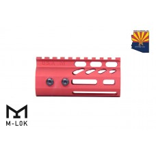"""4"""" ULTRA LIGHTWEIGHT THIN M-LOK FREE FLOATING HANDGUARD WITH MONOLITHIC TOP RAIL (RED)"""