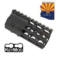"4"" ULTRA SLIMLINE OCTAGONAL 5 SIDED KEY MOD FREE FLOATING HANDGUARD WITH MONOLITHIC TOP RAIL"