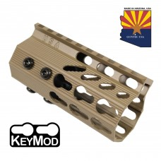 "4"" ULTRA SLIMLINE OCTAGONAL 5 SIDED KEY MOD FREE FLOATING HANDGUARD WITH MONOLITHIC TOP RAIL (FLAT DARK EARTH)"