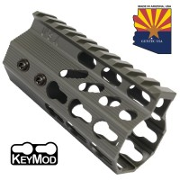 "4"" ULTRA SLIMLINE OCTAGONAL 5 SIDED KEY MOD FREE FLOATING HANDGUARD WITH MONOLITHIC TOP RAIL (O.D. GREEN)"
