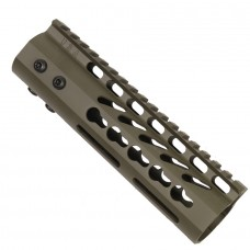 "7"" ULTRA LIGHTWEIGHT THIN KEY MOD FREE FLOATING HANDGUARD WITH MONOLITHIC TOP RAIL (OD GREEN)"