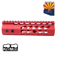 "7"" ULTRA LIGHTWEIGHT THIN KEY MOD FREE FLOATING HANDGUARD WITH MONOLITHIC TOP RAIL (RED)"
