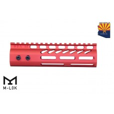 """7"""" ULTRA LIGHTWEIGHT THIN M-LOK FREE FLOATING HANDGUARD WITH MONOLITHIC TOP RAIL (RED)"""