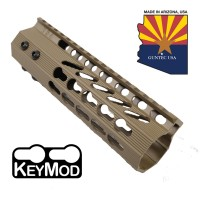 "7"" ULTRA SLIMLINE OCTAGONAL 5 SIDED KEY MOD FREE FLOATING HANDGUARD WITH MONOLITHIC TOP RAIL (FLAT DARK EARTH)"