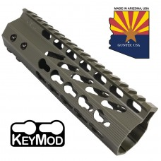 "7"" ULTRA SLIMLINE OCTAGONAL 5 SIDED KEY MOD FREE FLOATING HANDGUARD WITH MONOLITHIC TOP RAIL (O.D. GREEN)"
