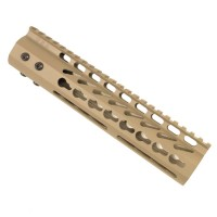 "9"" ULTRA LIGHTWEIGHT THIN KEY MOD FREE FLOATING HANDGUARD WITH MONOLITHIC TOP RAIL (FLAT DARK EARTH)"