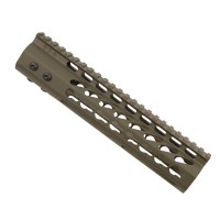 "9"" ULTRA LIGHTWEIGHT THIN KEY MOD FREE FLOATING HANDGUARD WITH MONOLITHIC TOP RAIL (OD GREEN)"