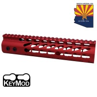 "9"" ULTRA LIGHTWEIGHT THIN KEY MOD FREE FLOATING HANDGUARD WITH MONOLITHIC TOP RAIL (RED)"