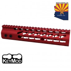 """9"""" ULTRA LIGHTWEIGHT THIN KEY MOD FREE FLOATING HANDGUARD WITH MONOLITHIC TOP RAIL (RED)"""
