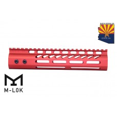 "9"" ULTRA LIGHTWEIGHT THIN M-LOK SYSTEM FREE FLOATING HANDGUARD WITH MONOLITHIC TOP RAIL (RED)"