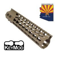 "9"" ULTRA SLIMLINE OCTAGONAL 5 SIDED KEY MOD FREE FLOATING HANDGUARD WITH MONOLITHIC TOP RAIL (FLAT DARK EARTH)"