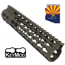 """9"""" ULTRA SLIMLINE OCTAGONAL 5 SIDED KEY MOD FREE FLOATING HANDGUARD WITH MONOLITHIC TOP RAIL (O.D. GREEN)"""